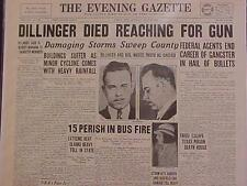 VINTAGE NEWSPAPER HEADLINE ~CRIME GANGSTER JOHN DILLINGER KILLED GUN SHOT DEAD~