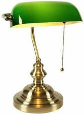 Traditional Banker Desk Lamp Pull Chain Switch Green Glass Light Satin Brass