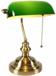 Traditional Banker Desk Lamp Pull Chain Switch Green Glass Light Satin Brass