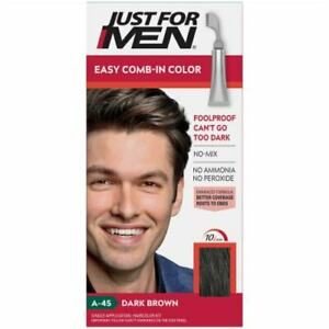 3 PACK Just For Men AUTOSTOP comb-in Haircolor -Dark Brown #A-45