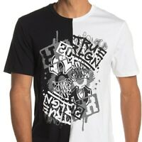 True Religion Men's Black and White Split Tee T-Shirt in Black/White