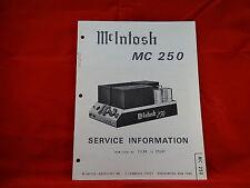 McIntosh MC 250 Amplifier Service Manual
