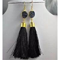 Natural Black /& Gold Druzy Stone Drop Earrings Rectangle Rock Dangle Boho