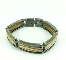 "Inox 316L Stainless Steel Inlaid Zebra Wood Link Bracelet, 7.5""/19cm RRP £220"