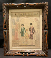 ORIGINAL ART DECO VINTAGE WOOD PHOTO PICTURE FRAME GLASS CARVED TRAY RETRO CHIC