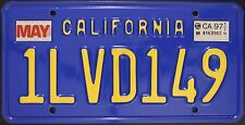 Original Nummernschild USA California 1997 plaque d'immatriculation TARGA Blue