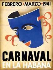 TRAVEL TOURISM CUBA HAVANA CARNIVAL MASK VINTAGE RETRO ADVERTISING POSTER 2364PY