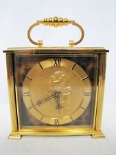 Imhof Carriage Clock with Beautiful Engraved Art by Bucherer.