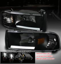 94-01 DODGE RAM PICKUP TRUCK LED BAR BLACK CRYSTAL HEAD LIGHT+50W HID KIT CORNER