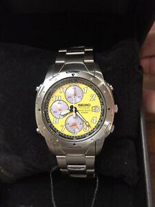 NEW!! Rare Seiko SWWE79P1 Steel Chronograph Men's Watch Yellow Dial 7T32-6m30