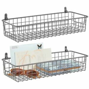 mDesign Metal Wallmount Hanging Basket Small, Hooks Included, 2 Pack - Gray