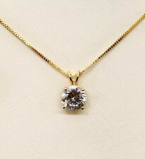 "14K Solid Yellow Gold CZ Solitaire Pendant & Box Chain Necklace 16"", 1.7 Grams"