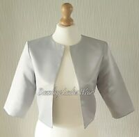 Light Silver/Grey Satin Bolero Lined Shrug/Jacket/Stole/Shawl/Wrap 3/4 Sleeve #4