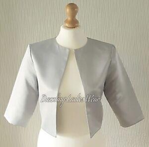 Light Silver/Grey Satin Bolero Lined Shrug/Jacket/Stole/Shawl/Wrap 3/4 Sleeve #4