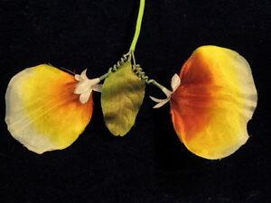 "Vintage Millinery Flower Sweet Pea 2.5"" Blossoms Yellow Orange Hat Wedding Y123"