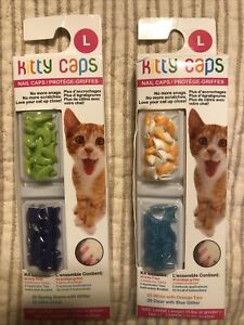 2 KITTY CAPS NAIL Cap Cover LARGE Green Blue Glitter Violet Orange White 80 Caps