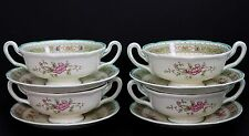 Royal Doulton Lillian Scalloped v1022 Four Cream Soup Bowls and Under Plates