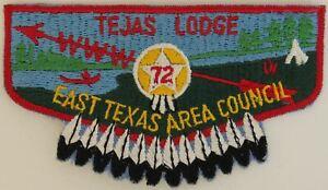 OA Tejas Lodge 72 Pre-fdl Flap RED Bdr. East Texas Area Council [TK-363]