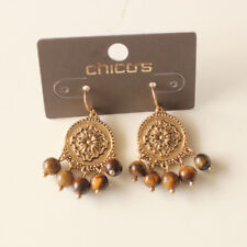 New Chicos Tigers Eye Drop Earrings Gift Fashion Women Party Holiday Jewelry FS