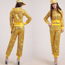 Soft Jazz Street Dance Costume Dancewear Sequin Fashion Women Tops and Pants