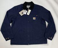 Carhartt WIP Detroit Jacket Dark Navy blue Rinsed BNWT M L Organic work coat