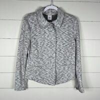 CAbi 5102 Neo Moto Jacket Sweater Size Medium Heathered Gray Zip Up Cotton $139