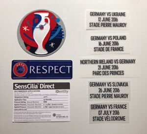 DFB Deutschland Spielertrikot Patch Set EM 2016 Logo*Player Size + Match Detail