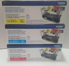 Genuine Brother Toner Cartridges Lot TN-331y TN-331c TN-331m yellow cyan magenta