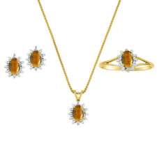 Tiger Eye & Diamond Pendant, Earrings & Ring in 14K Yellow Gold Plated silver
