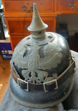 More details for vintage ww1 leather pickelhaube german prussian spike helmet