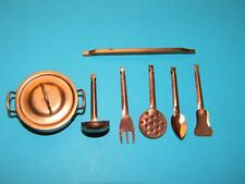 Vintage 1960s 1970s Doll House Brass Miniature Pans Utensils 8 Pieces