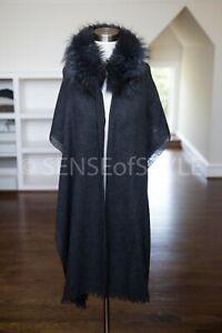 Brunello Cucinelli Cashmere poncho Wrap Scarf Cape One Size Fur Trim