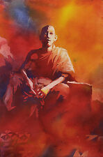 Male monk in saffron robes at Wat in Phnom Penh- Cambodia. Watercolor painting