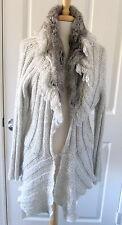 ALBERTO MAKALI NWOT Gray Rabbit Fur Trim Knitted Jacket COAT SZ S M