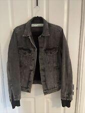 OFF-WHITE Black Distressed Denim Jacket M Worn Once, Graphic On Back