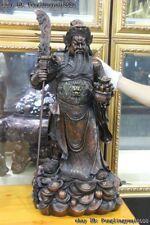 China Brass Copper Guan Gong YunChang Guan Yu Hold Dragon Broadsword Warrior God