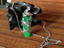 Amazing Green Jade Strip Carving Dragon Lucky Jade Pendant + Chain Necklace