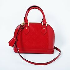 Louis Vuitton Red Patent Leather Alma BB Pomme D'amour Vernis Mini Satchel Bag