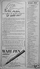 PUBLICITÉ 1923 WAHL PEN INSÉPARABLE DE L'EVERSHARP - ADVERTISING