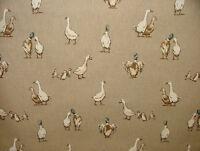 Mini Prints Ducks Animals Linen Look Fabric Curtain Upholstery Blinds