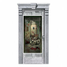 Halloween Party Door Banner Party Decoration Haunted Bloody Asylum Door Poster