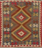 Southwestern Geometric Kilim Oriental Area Rug Wool Hand-Woven Navajo Carpet 3x4