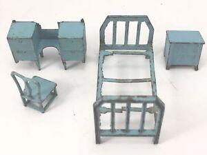 TOOTSIETOY 1920s BLUE BEDROOM SET 4pcs Assorted DOLLHOUSE Miniature Furniture