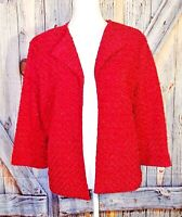 ALFRED DUNNER Womans RED SHIMMER Jacket Top LINED Coat Shrug Sweater PETITE 14p