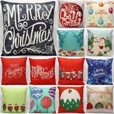 Christmas Tree Cotton Linen Cushion Cover Pillow case Sofa Home Decor