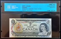 1973 Bank of Canada $1 Replacement Note *GY6045563 CCCS CH.UNC-63  BC-46aA