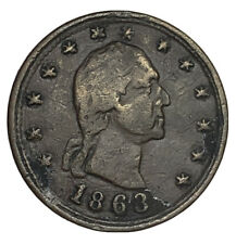 1863 Civil War Token Washington Head No Compromise with Traitors Cannons