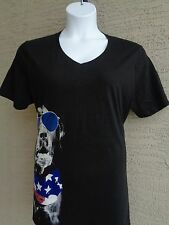 Just My Size 3X  Glitzy Patriotic Dog Graphic V Neck S/S  Tee Shirt  Black