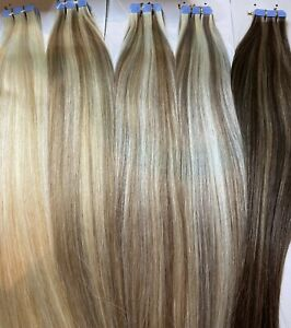 INVISI TAPE HUMAN REMY HAIR EXTENSIONS 50g 20'' SHADE #1B REGAL straight