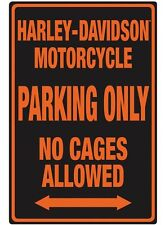 Harley Davidson Embossed No Cages Allowed Motorcycle Parking Sign Tin NEW